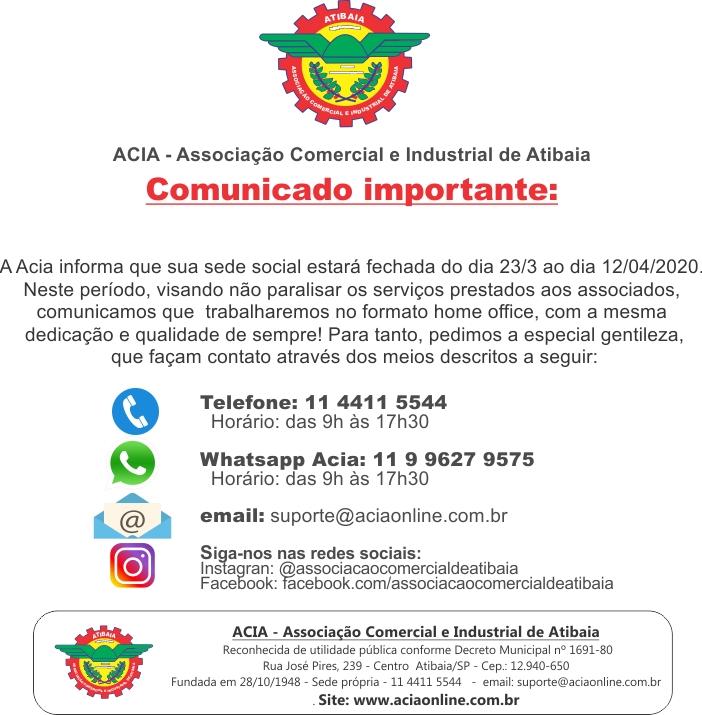 Notícia: DECRETO DE QUARENTENA: Fechamento da ACIA e atendimento home office aos associados.