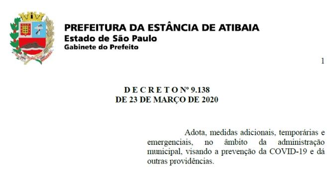 Notícia: DECRETO Nº 9.138 DE 23 DE MARÇO DE 2020.