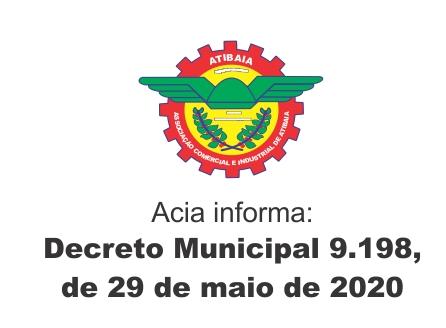 DECRETO  Nº 9198 de 29 de maio de 2020.