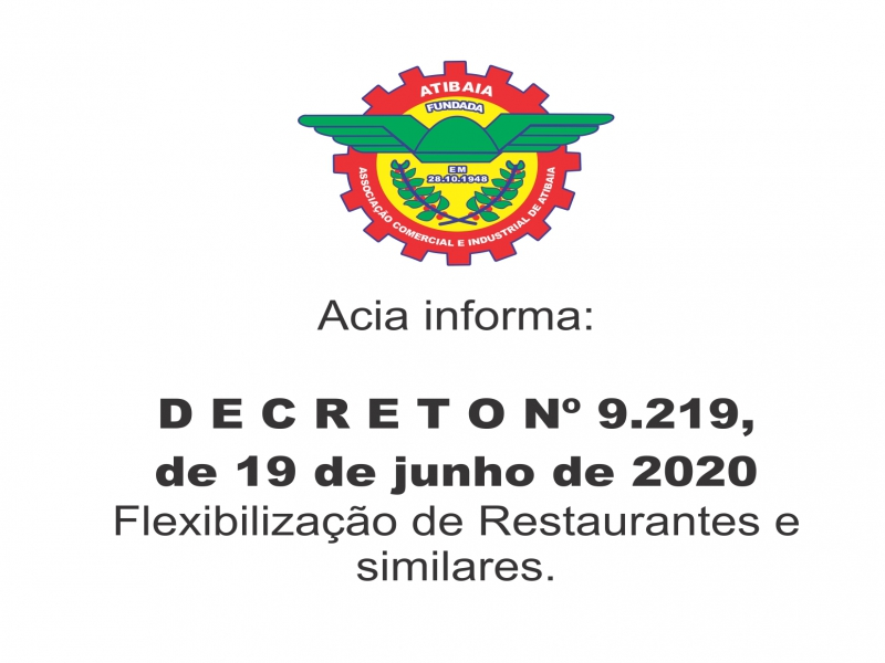 Decreto de flexibilização dos restaurantes, bares, pizzarias, hamburguerias, cafés, doçarias e similares.