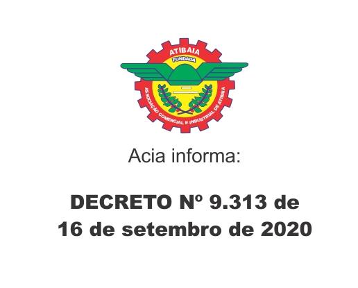 Decreto 9.313 de 16 de setembro de 2020