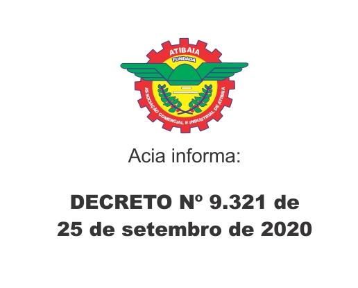 Notícia: Decreto número 9.321 de 25 de setembro de 2020.