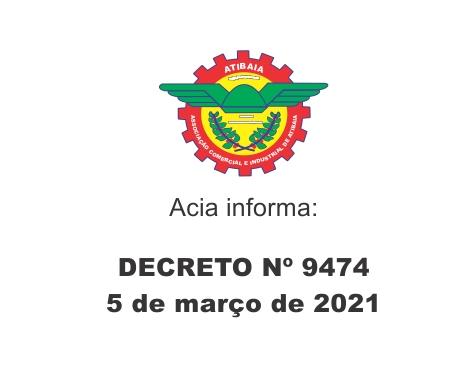 Notícia: Decreto 9474 de 05 de março de 2021